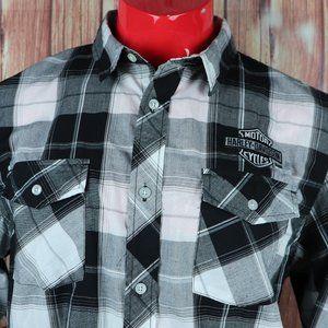 Harley Davidson Embroidered Logo Plaid Shirt